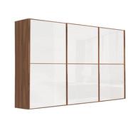 SCHWEBETÜRENSCHRANK in Nussbaumfarben, Weiß - Nussbaumfarben/Weiß, Design, Glas/Holzwerkstoff (300/240/69cm) - Visionight