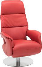 RELAXSESSEL Echtleder Relaxfunktion - Rot, Design, Leder/Metall (72/115/79cm) - WELNOVA
