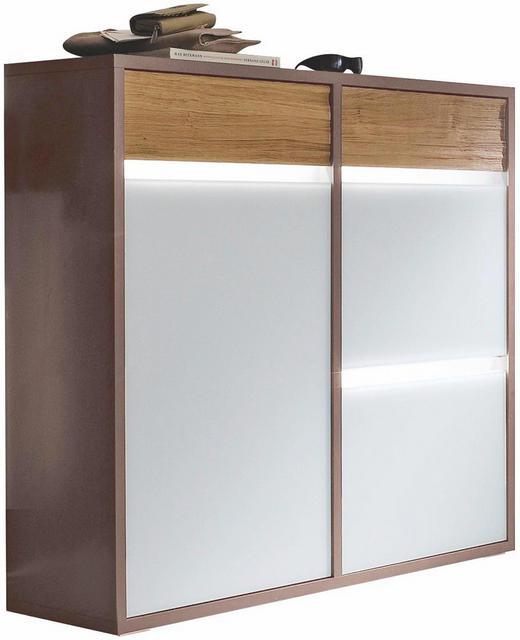 SCHUHSCHRANK Eiche matt Dunkelgrau, Eichefarben, Weiß - Dunkelgrau/Eichefarben, Design, Glas/Holz (121/112/35cm) - Cassando