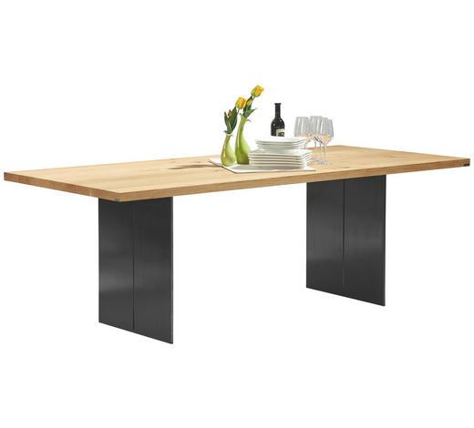 ESSTISCH Asteiche massiv rechteckig Schwarz, Eichefarben - Eichefarben/Schwarz, Design, Holz/Metall (260/100/77cm) - Musterring