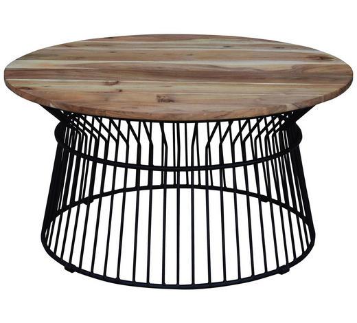 COUCHTISCH in Holz, Metall 85/85/43 cm - Schwarz/Akaziefarben, Design, Holz/Metall (85/85/43cm) - Carryhome