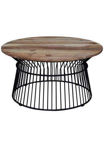 KONFERENČNÍ STOLEK, akácie, černá, barvy akácie - černá/barvy akácie, Design, kov/dřevo (85/43cm) - Carryhome