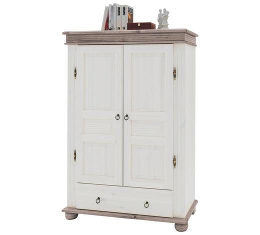 SCHRANK Kiefer massiv Grau, Weiß  - Weiß/Grau, Design, Holz/Metall (99/146/39,5cm) - Carryhome