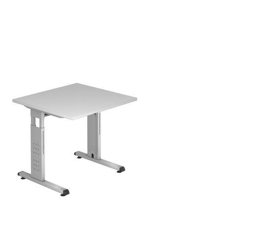 SCHREIBTISCH in Metall, Holzwerkstoff  - Silberfarben/Grau, KONVENTIONELL, Holzwerkstoff/Metall (80/80cm)