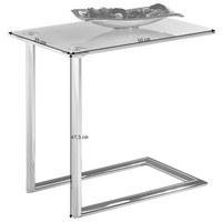 Beistelltisch/Nachttisch in Chromfarben - Chromfarben, Design, Glas/Metall (35/47,5/50cm) - Ada Austria