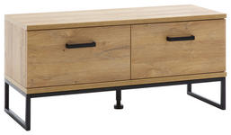 GARDEROBENBANK 101/46/38 cm  - Eichefarben/Schwarz, Design, Holzwerkstoff/Metall (101/46/38cm) - Xora