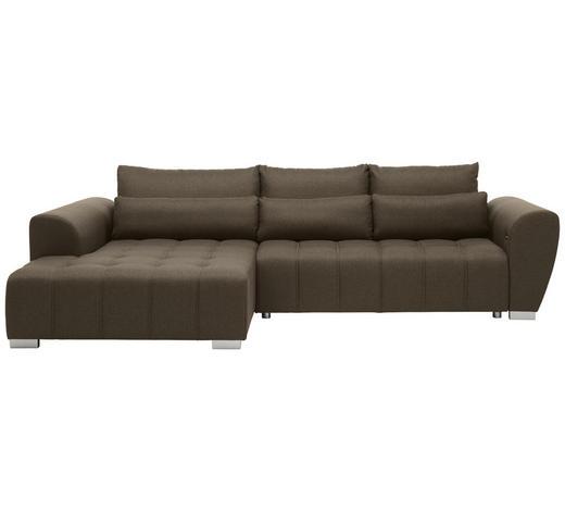 WOHNLANDSCHAFT in Textil Braun, Grau - Silberfarben/Braun, MODERN, Kunststoff/Textil (218/304cm) - Carryhome