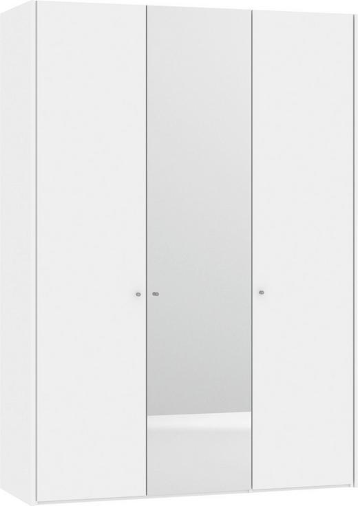 KLEIDERSCHRANK 3-türig Weiß - Silberfarben/Weiß, Design, Glas/Holzwerkstoff (156,1/220/58,5cm) - Jutzler