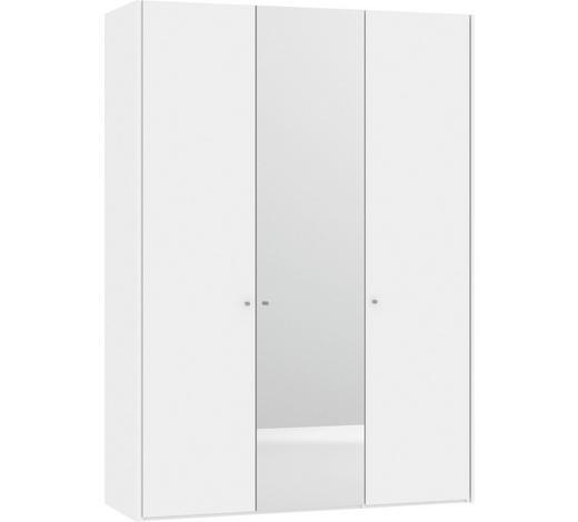 KLEIDERSCHRANK in Weiß - Silberfarben/Weiß, Design, Glas/Holzwerkstoff (156,1/220/58,5cm) - Jutzler