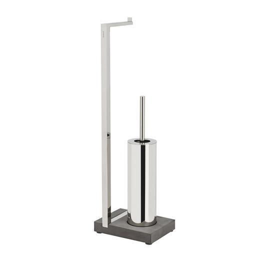 TOILETTENPAPIERHALTER - Edelstahlfarben/Schwarz, Basics, Kunststoff/Stein (15/64,5/20cm)