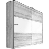 OMARA Z DRSNIMI VRATI, bela, hrast - aluminij/bela, Design, kovina/leseni material (250/236/68cm) - HOM`IN