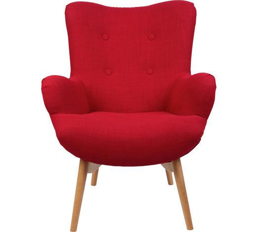 SESSEL Rot - Rot/Naturfarben, Design, Holz/Textil (75/100/83cm) - Carryhome