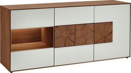 SIDEBOARD Kerneiche vollmassiv matt, lackiert, gebürstet, gewachst Weiß, Eichefarben  - Eichefarben/Weiß, Design, Glas/Holz (175/80,5/49cm) - Valnatura