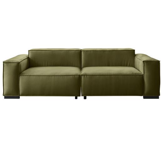 BIGSOFA in Textil Olivgrün - Schwarz/Olivgrün, KONVENTIONELL, Kunststoff/Textil (260/79/99cm) - Carryhome