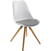 STUHL Lederlook Grau, Naturfarben, Weiß - Weiß/Naturfarben, LIFESTYLE, Holz/Kunststoff (48,5/85/55cm) - Xora