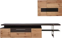 WOHNWAND in Braun, Eichefarben  - Edelstahlfarben/Eichefarben, Design, Glas/Holz (295/185/55,7cm) - Dieter Knoll
