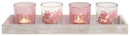 VÄRMELJUSSERIE - rosa/naturfärgad, Basics, glas/trä (40/12/15cm) - AMBIA HOME