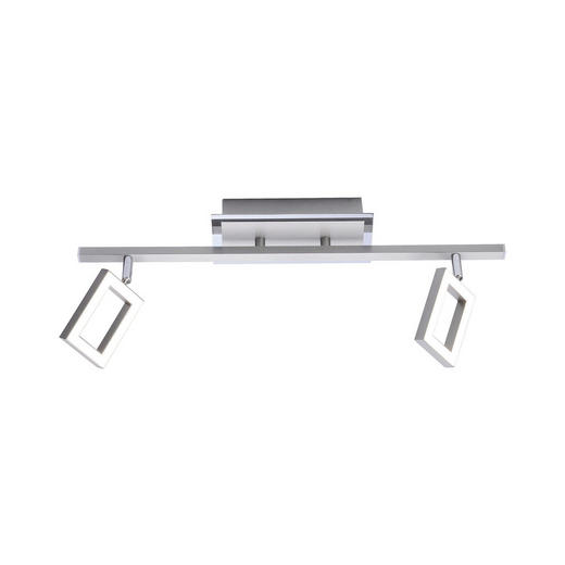 LED-DECKENLEUCHTE - Nickelfarben, Design, Kunststoff/Metall (45,5/7,5/19,5cm) - Novel