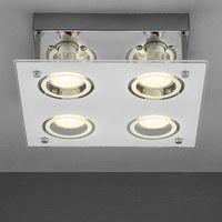 LED-DECKENLEUCHTE - Chromfarben/Weiß, Design, Glas/Metall (23/8,5cm) - BOXXX