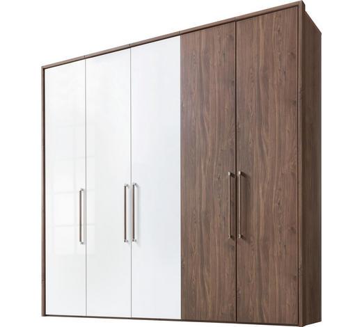 DREHTÜRENSCHRANK in Weiß, Nussbaumfarben - Chromfarben/Nussbaumfarben, KONVENTIONELL, Holzwerkstoff/Metall (250/223/64cm) - Visionight