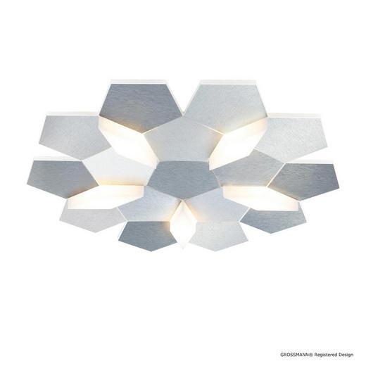 LED-DECKENLEUCHTE - Alufarben, Design, Metall (44,6/42,4/7,4cm) - Grossmann