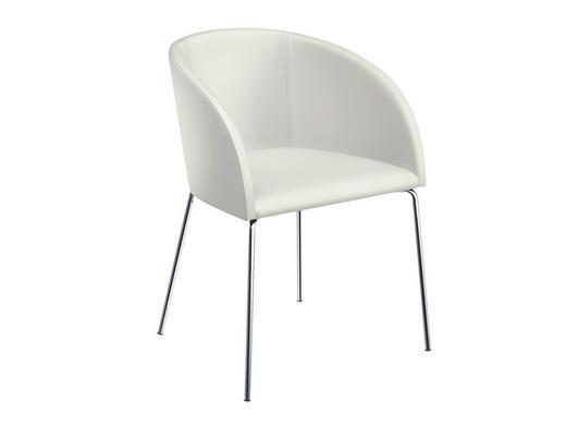STUHL Lederlook Weiß - Weiß, Design, Textil/Metall (55,5/79,5/58,2cm) - Now by Hülsta