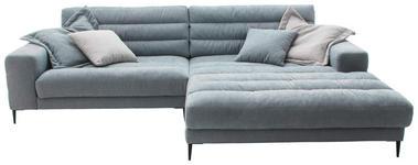 WOHNLANDSCHAFT in Textil Hellblau  - Schwarz/Hellblau, Design, Textil/Metall (296/207cm) - Dieter Knoll