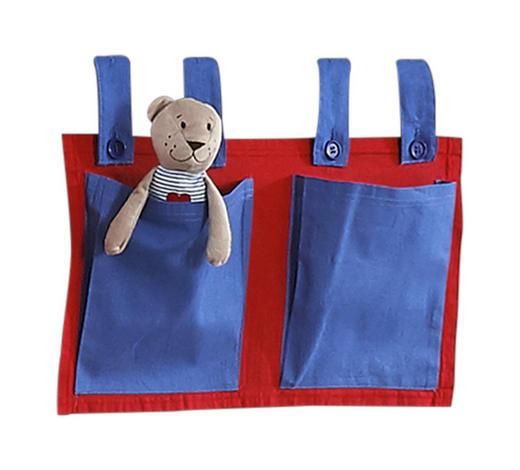 BETTTASCHE - Blau/Rot, Design, Textil (50/28/2cm)