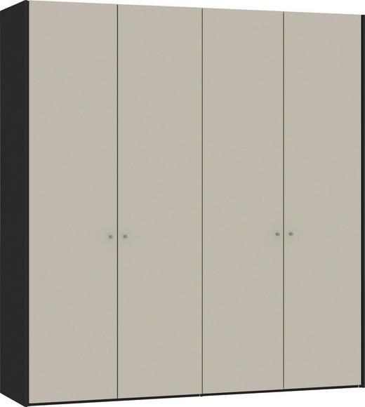 DREHTÜRENSCHRANK 4-türig Sandfarben, Schwarz - Sandfarben/Silberfarben, Design, Glas/Holzwerkstoff (205,1/220/58,5cm) - Jutzler