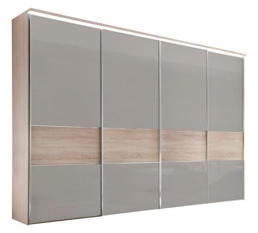 SCHWEBETÜRENSCHRANK 4-türig Eichefarben, Sandfarben  - Sandfarben/Chromfarben, Basics, Glas/Holzwerkstoff (331/240/68cm) - Moderano