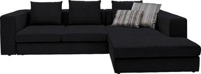 WOHNLANDSCHAFT in Textil Schwarz - Schwarz, Design, Kunststoff/Textil (304/194cm) - Dieter Knoll