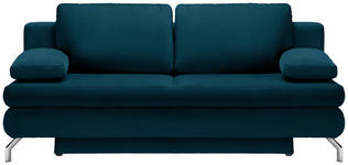SCHLAFSOFA in Textil Petrol - Chromfarben/Petrol, Design, Textil/Metall (200/91/92cm) - Novel