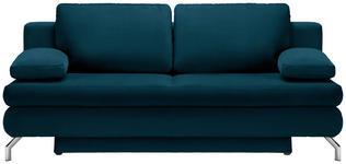 SCHLAFSOFA in Textil Petrol  - Chromfarben/Petrol, Design, Textil/Metall (200/91/92cm) - Novel
