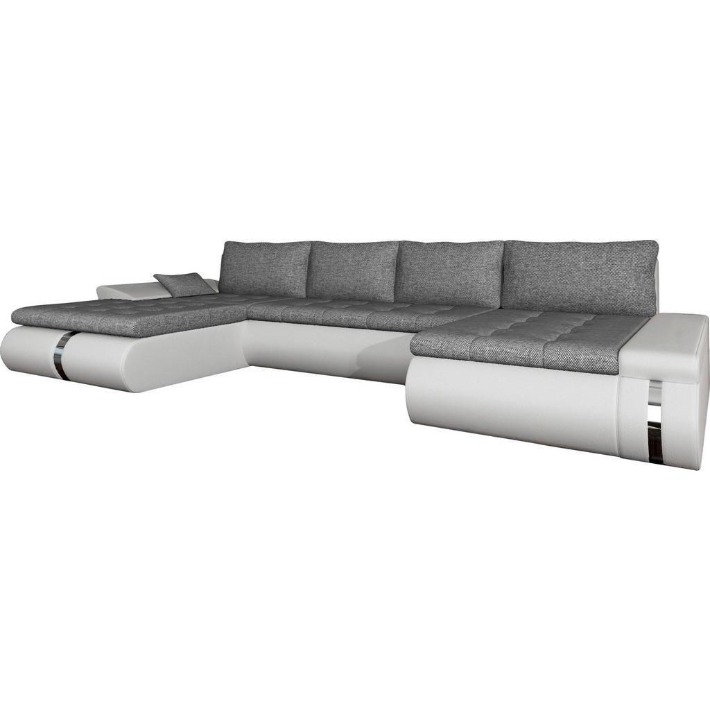 Carryhome WOHNLANDSCHAFT Webstoff Bettkasten - Rücken echt - Rückenkissen - Schlaffunktion - Zierkissen - Weiß