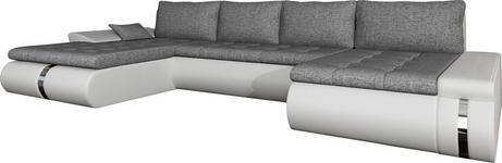 WOHNLANDSCHAFT in Textil Weiß, Hellgrau  - Hellgrau/Schwarz, KONVENTIONELL, Kunststoff/Textil (216/385/164cm) - Carryhome