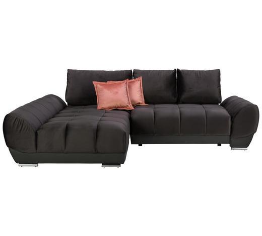 WOHNLANDSCHAFT in Textil Braun, Grau - Pink/Braun, MODERN, Textil/Metall (192/290cm) - Carryhome