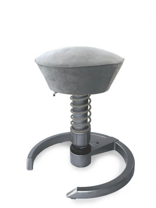 BÜROHOCKER Grau - Schwarz/Grau, Textil/Metall (58/45-66cm)