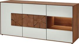 SIDEBOARD Kerneiche vollmassiv gebürstet, gewachst, lackiert, matt Eichefarben, Weiß - Eichefarben/Weiß, Design, Glas/Holz (175/81/49cm) - Valnatura