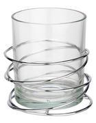 SVEČNIK - srebrna/prozorna, Basics, kovina/steklo (10/10,4cm) - Ambia Home