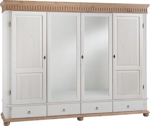 KLEIDERSCHRANK 4-türig Kiefer massiv Kieferfarben, Weiß - Weiß/Kieferfarben, Design, Holz/Metall (252/218/62cm) - Carryhome