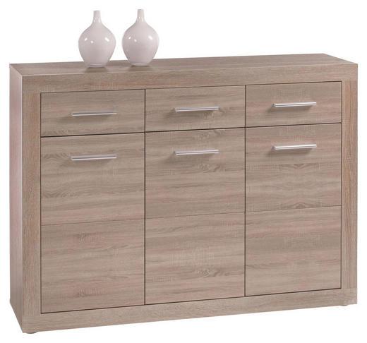 KOMMODE Sonoma Eiche - Silberfarben/Alufarben, Design, Holz/Kunststoff (117/89/37cm) - Boxxx