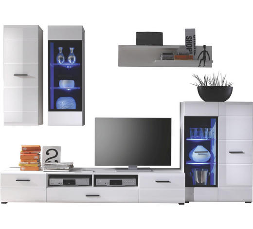 REGAL ZA DNEVNI BORAVAK - bijela, Design, staklo/drvni materijal (275/195/45cm) - Xora