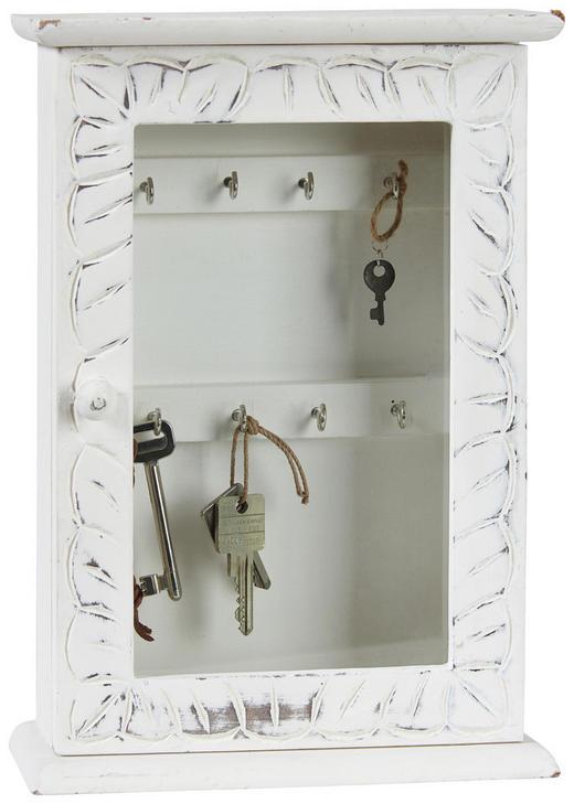SCHLÜSSELKASTEN - Weiß, LIFESTYLE, Glas/Holzwerkstoff (33/23/9cm) - Ambia Home