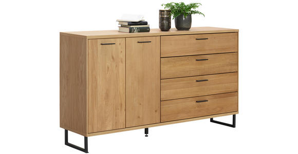 SIDEBOARD 165,2/90/38,2 cm  - Eichefarben, KONVENTIONELL, Holz/Metall (165,2/90/38,2cm) - Cantus