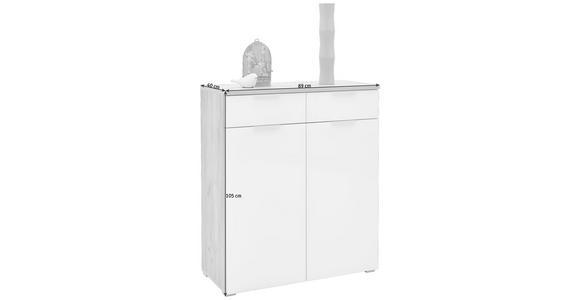 SCHUHSCHRANK 89/105/40 cm - Eichefarben/Silberfarben, Design, Glas/Holzwerkstoff (89/105/40cm) - Voleo