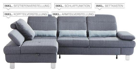 Wohnlandschaft inkl.Funktionen Grau, Hellblau Webstoff  - Alufarben/Grau, KONVENTIONELL, Textil/Metall (216/286cm) - Cantus