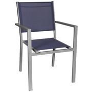 STAPELSESSEL Aluminium Blau, Silberfarben - Blau/Silberfarben, Design, Textil/Metall (55/86/61cm) - Ambia Garden