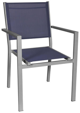 STAPELSESSEL - Blau/Silberfarben, Design, Textil/Metall (55/86/61cm) - Ambia Garden
