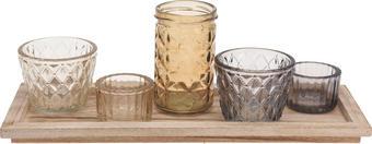 TEELICHTHALTER-SET 6-teilig - Naturfarben, Glas/Holz