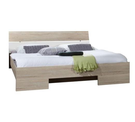 POSTEL, 180 cm  x 200 cm, kompozitní dřevo, bílá, barvy dubu - bílá/barvy dubu, Design, kompozitní dřevo (180/200cm) - Carryhome